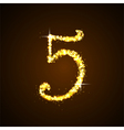 Number five of gold glittering stars vector image