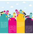 Banners with small town vector image