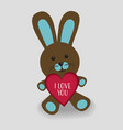 blue bunny with heart i love you vector image