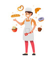 cooking woman holding spatula vector image