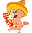 Cute Cat Mexican Cartoon vector image