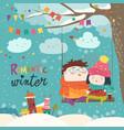 cute winter cartoon couple swinging vector image