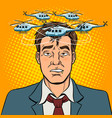 drunk man with helicopters pop art vector image