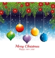 merry christmas happy new year hanging balls vector image