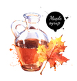 Watercolor hand drawn maple syrup in glass bottle vector image