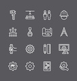 Engineering and manufacture silhouette icons set vector image vector image