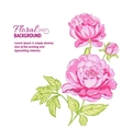 Pink peonies background with sample text vector image vector image