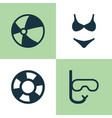 season icons set collection of dinghy tube vector image