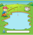 frame design with boy and his dog fishing vector image vector image