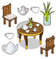 isolated set of wooden kitchen furniture vector image