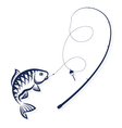 Fish on the hook and rod vector image vector image