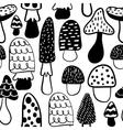 Black and white modern mushroom seamless pattern vector image