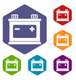 car battery icons set vector image