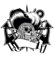 pirate in hat with feathers and anchor wheel vector image