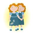 Twin girls holding hands zodiac sign Gemini vector image