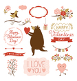 Valentines day graphic elements set vector image
