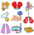 collection sport equipment various doodles vector image