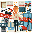 promo sale and salesman promoter in home vector image