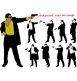 silhouette of armed man vector image vector image