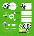 set of modern robot technology on green background vector image