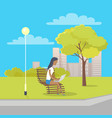 woman with laptop sits on bench in city park vector image