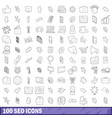 100 seo icons set outline style vector image