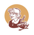 portrait of lovely grandmother and home made soup vector image vector image