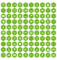 100 network icons hexagon green vector image