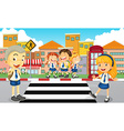 Students crossing the road vector image vector image