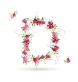 Floral letter D for your design vector image