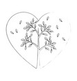 heart with leaves icon vector image