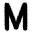 Sprayed M font graffiti in black over white vector image