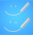 white smile of toothpaste on blue background vector image vector image