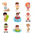 cute cartoon kids playing at the beach set boys vector image
