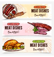 Hand Drawn Meat Horizontal Banners vector image