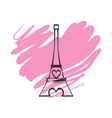 Paris Eiffel Tower Icon with pink heart vector image