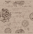 seamless background with math formulas and cogs vector image