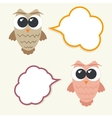 Set og talking owls with speech bubbles for vector image