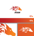 Tribal Fire Horse Head Silhouette symbol branding vector image