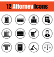 Set of attorney icons vector image