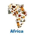 Coffee pattern in shape of Africa continent vector image vector image