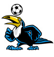 toucan bird play soccer vector image