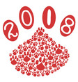 2018 dog year with dog paws background vector image