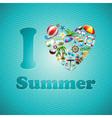 Love Heart Summer Holiday design set vector image vector image