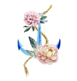 Anchor with flowers vector image