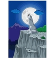 Wolf howling under the full moon vector image