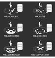 set of coffee cup character vector image