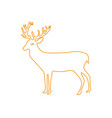 color line reindeer animal to merry christmas vector image