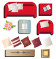 Living room furniture top view set 10 for interior vector image