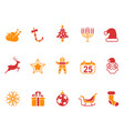 orange and red color christmas icons set vector image